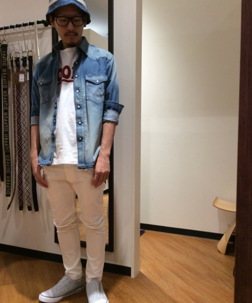 DUFFER×Wrangler USED WASH DENIM WESTERN SHIRT