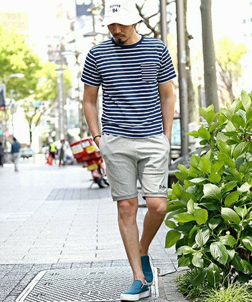 INDIGO BORDER TEE & Champion SHORTS SNAP