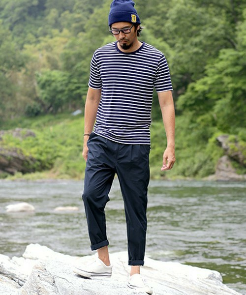 BORDER TEE &  EASY PANTS SNAP