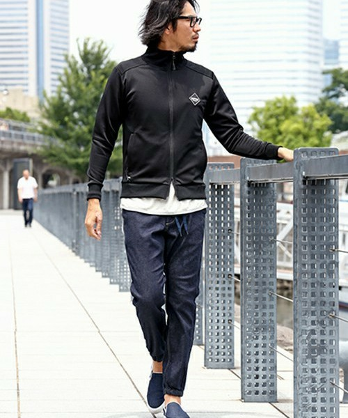 TRACK JACKET &  DENIM JOGGER PANTS SNAP
