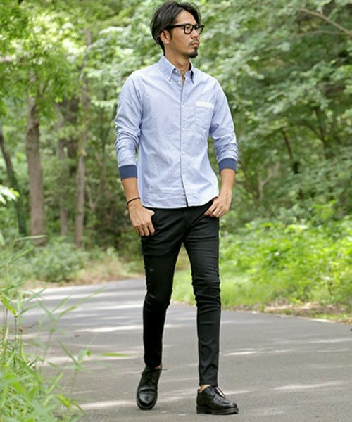 OXFORD SHIRT & SKINNY  PANTS SNAP