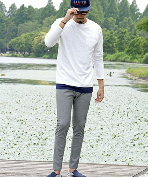 LAYERED L/S TEE & SKINNY PANTS SNAP