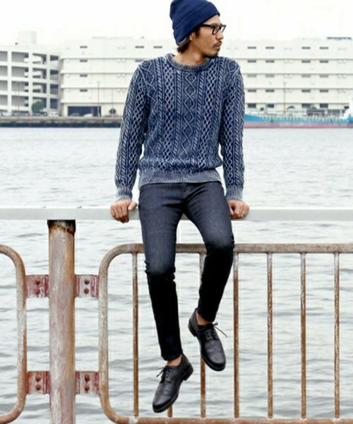 INDIGO CABLE KNIT & SKINNY DENIM SNAP