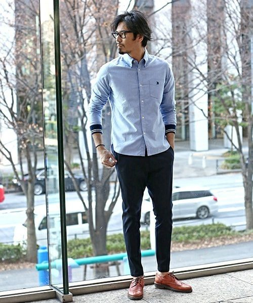 RIB CUFFS OXFORD B.D SHIRT SNAP