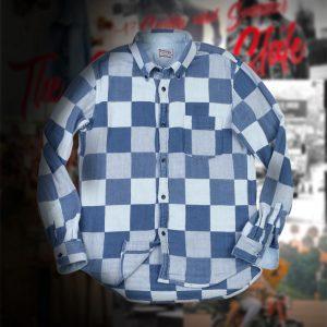 DOUBLE GAUZE INDIGO BLOCK CHECK SHIRT:インディゴブロックチェックシャツ