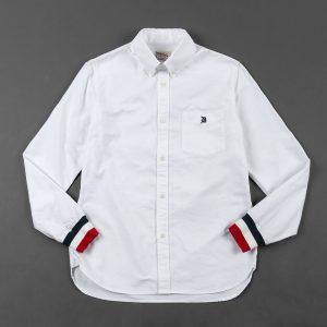 RIB CUFFS SHIRT:トリコロールリブ袖 オックスフォードボタンダウンシャツ