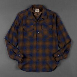 OMBRE CHECK SHIRT:インディゴ オンブレーチェック 開襟シャツ