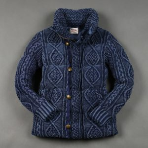 HIGH NECKED INDIGO CABLE KNIT DOWN JACKET:インディゴニットダウン