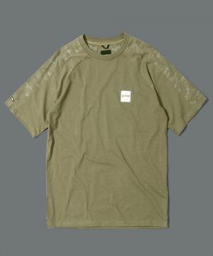 BLACK LABEL CAMO SLEEVE TEE:CVC天竺 カモフラ柄袖切替え Tシャツ
