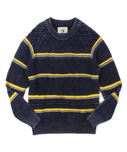 INDIGO LABEL Safari Lounge×DUFFER CENTRIPETAL PATTERN KNIT:インディゴレーベル 求心柄ボーダーニット