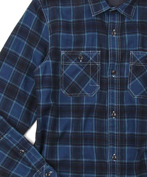 INDIGO FLANNEL CHECK SHIRT:インディゴフランネルチェックシャツ