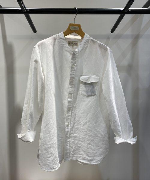 夏場でもサラッと着れるバンドカラーシャツ!