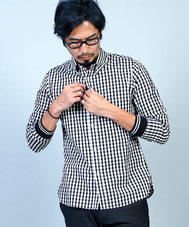 GINGHAM CHECK RIB CUFFS SHIRT: チェックシャツ